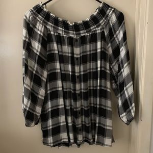 Off the shoulder woven plaid top
